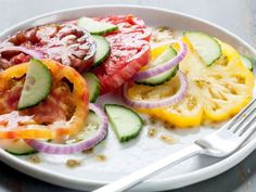Heirloom Tomato, Cucumber and Red Onion Salad | Whole Foods Recipe   http://www.wholefoodsmarket.com/recipe/3524