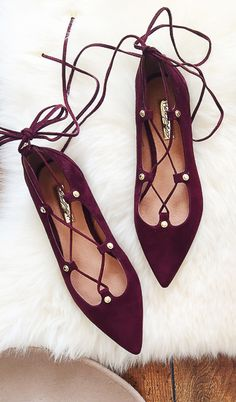 Burgundy lace up flats