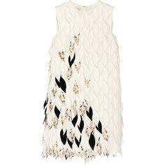 Giambattista Valli Appliquéd silk-blend mini dress ($5,450) ❤ liked on Polyvore featuring dresses, robe, vestidos, giambattista valli, white, feather cocktail dress, mini dress, white cocktail dresses, floral cocktail dresses and short floral dresses
