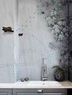 #wallcovering #wallpaper #wetsystem #showerwallpaper Bathroom Wallpaper, Wall Wallpaper, Papier Paint, System Wallpaper, Normal Wallpaper, Steam Room, Decoration, Flooring, Interior Design