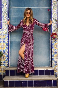 Boho maxi wrap Hand painted Moroccan tile pillars blue yellow