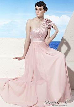 Pink One Shoulder Cute Flower Long Evening Dress Ball Gown