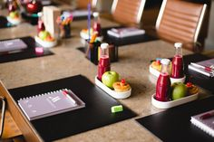 Prepare your meeting space with essential office supplies and snacks to inspire and encourage your attendees.