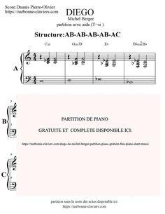Partition gratuite: Diego de Michel Berger partition piano avec aide à la lecture et sans aide. FREE PIANO SHEET MUSIC par Narbonne-claviers.com