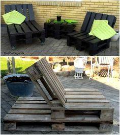 hjemmelavede møbler - solvogn med kraftige møbelhjul under og en stol af paller