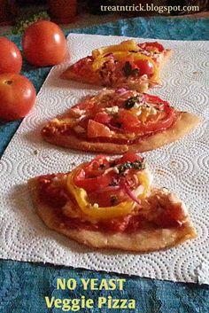 No Yeast Veggie Pizza @ treatntrick.blogspot.com