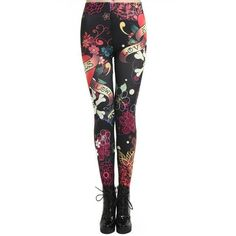 Skulls & Flowers with Love Leggings – Zapps Clothing