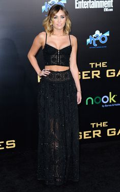 Miley Cyrus at the Premiere Of 'The Hunger Games' on 3/12/12. See more of Miley's A+ style at http://bit.ly/JFt3T3