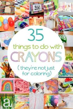 35 uses for crayons – they're not just for coloring! Lots of crayon activiti… 35 uses for crayons – they're not just for coloring! Lots of crayon activities and crafts for kids to make. Crafts For Kids To Make, Projects For Kids, Fun Crafts, Art For Kids, Craft Projects, Arts And Crafts, Kid Art, Preschool Art, Craft Activities For Kids