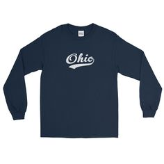 Vintage Ohio OH Long Sleeve T-Shirt with Script Tail Design Adult - JimShorts