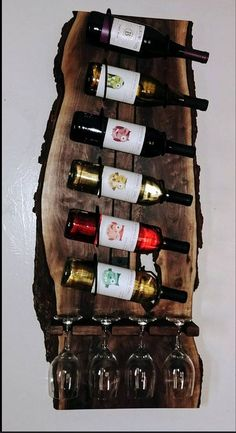 Live Edge Walnut Wine Rack Live Edge Walnut Wine Rack The post Live Edge Walnut Wine Rack & Wijnrek appeared first on Geometric decor . Unique Wine Racks, Rustic Wine Racks, Unique Man Cave Ideas, Rustic Wine Cabinet, Wine Rack Inspiration, Woodworking Plans, Woodworking Projects, Woodworking Magazine, Woodworking Patterns