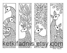 Coloring bookmarks Patterns bookmarks coloring page Pichwai Paintings, Indian Art Paintings, Abstract Paintings, Madhubani Art, Madhubani Painting, Zantangle Art, Mandala Art, Mandala Painting, Worli Painting