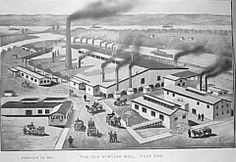 Built in 1832, the Gaylord Rolling Mills was located at the SW corner of Front and Washington Sts. It was the first mill for iron production in the Northwest Territory and the beginning of Portsmouth steel history. Burgess Steel was founded in 1872 by Levi York. In 1889 , he took over the then idle Gaylord mill after the founder's death. On June 7, 1898, a fire completely destroyed the mill.