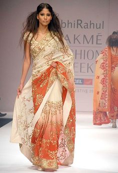 Orange and white saree