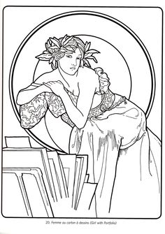 Fancy Alphonse Mucha Coloring Pages