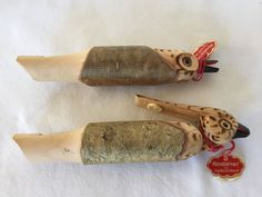 Vintage 2 Hand Carved Wood FOLK ART BIRD WHISTLE Flute Made Switzerland w Tags