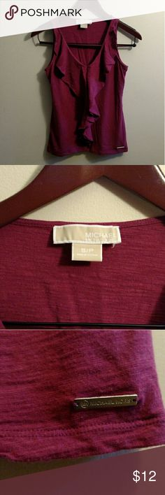 Michael Kors cotton ruffle tank Cranberry color ruffle tank Michael Kors Tops Tank Tops