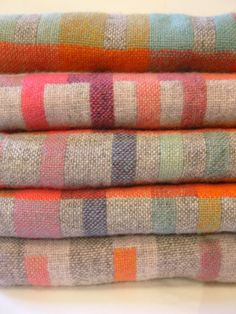 Holly Berry Woven scarves. Handwoven using lambswool, cashmere and merino blends. Handwoven by Holly Berry in her south-London studio.