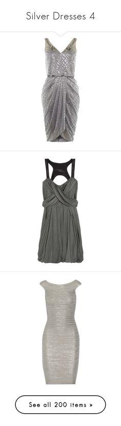"""""""Silver Dresses 4"""" by kingcrimson ❤ liked on Polyvore featuring dresses, short dresses, silver, sale, pattern dress, v neckline dress, print dresses, knee length dresses, v-neck dresses and vestidos"""