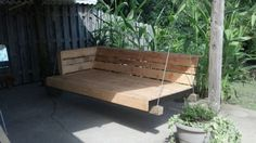 40 DIY Pallet Swing Ideas   99 Pallets - I would add some sunbrella fabric pillows to soften it and a snuggy throw in the fall/spring.