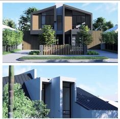 New approved Dual Occupancy project for 2 double story homes with a unique street presence and maximised solar access, at Bentleigh, Victoria, Australia, by PROVIDENCE ARCHITECTURE (Bosko Dugoshija Modern Villa Design, Duplex House Design, Verde Island, Victoria Australia, Modern House Plans, Townhouse, Terrace, Outdoor Decor, Architecture