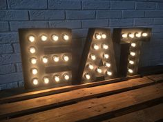 Items similar to Kitchen or Restaurant decor LARGE EAT sign light up Letters of metal , light up sign industial decor. Bar & Dinner sign EAT, Real bulbs on Etsy Light Up Signs, Light Up Letters, Large Letters, Industrial Interior Design, Industrial Interiors, Modern Industrial, Industrial Living, Cafe Interior, Metal Wall Letters