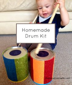 Make your own drum kit out of household items. A great idea for toddlers and baby. Make noise, make music, make mess and have fun!