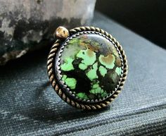 Green Moon - Turquoise and Sterling Ring $90 by RejoiceTheHands on etsy