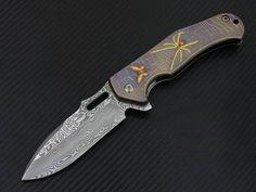In the spider's Web ... titanium , gold , Copper and damasteel.  #customknives #knifeporn #knifecollecting  #inlays #foldingknife #art #gold #damasteel #design #metal #brazil #knife #blades #edcknife #canivete #knifecommunity