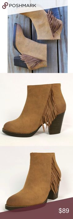 """Chick Fringe Casual Bootie This Vegan Booties is a must have for any season. Fringe trim adds standout '70s flair to a casual-chic bootie set on a lofty stacked heel. Side zip closure.  Heel height: 3""""; 1/2"""" platform; 4"""" shaft by BC X Free People. Fit is true to size. Free People Shoes Ankle Boots & Booties"""
