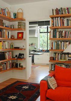 Floating Bookshelves- I love the idea of having floating bookshelves in a room.