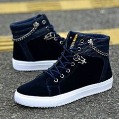 Fashionable Lace Up High-Top Canvas Casual Shoes Brand: No Shoe Type: Casual Shoes Toe Type:Round Toe Closure Type: Lace Up Gender: Male Occasion: CasualSeason: Spring Summer Autumn Winter Color: Blu. Cute Shoes, Me Too Shoes, Women's Shoes, Shoe Boots, Hightop Shoes, Black Shoes, Shoes Sneakers, Fashion Boots, Sneakers Fashion