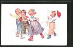 Vieux-artistes-AK-Karl-jour-ferie-enfants-jouent-cheval-1911
