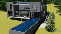 Home Design Drawings Custom shipping container home designed by Eco Home designer Pty. This container home uses custom made wide shipping containers, which are perfect for those who like large rooms. Prefab Container Homes, Storage Container Homes, Container House Design, 20ft Container, Container Store, Shipping Container Home Designs, Shipping Container House Plans, Shipping Containers, Pool Houses