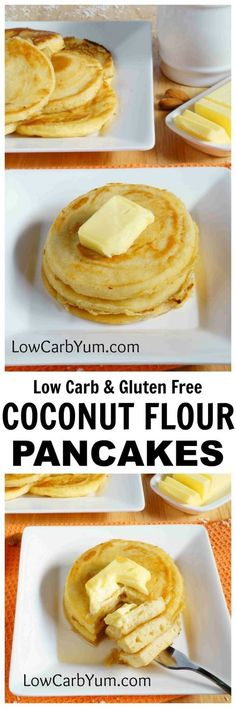 An easy recipe for fluffy gluten free low carb coconut flour pancakes. Such a tasty breakfast treat! Enjoy them with your favorite syrup or eat them plain. | http://LowCarbYum.com