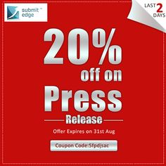 Hurry! We are offering 20% off on our Press Release service! This offer is valid till 31st August, 2013. Use the coupon code while purchasing.  If you have any queries, feel free to contact us on support@submitedge.com