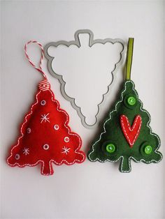 stamping and stitching: Oh Christmas Trees Felt Christmas Decorations, Felt Christmas Ornaments, Christmas Art, Homemade Ornaments, Homemade Christmas Gifts, How To Make Ornaments, Felt Crafts, Holiday Crafts, Christmas Sewing