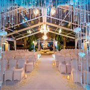 In Love With This Gorgeous Altar Treatment The Renaissance Vinoy Tea Garden Two Chandeliers Some Beautiful White Sheer D And Lush Arran