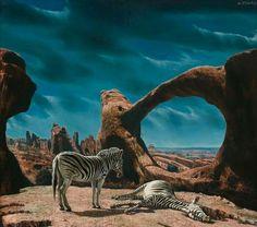 Carel Willink - Zebra's in rood rotslandschap 1958
