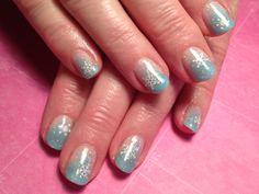 Shellac, winter nails, snowflakes.
