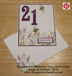 Birthday card created using the Number of Years Stamp Set and Large Numbers Framelits bundle from the Stampin' Up! 2016 Occasions Catalogue. http://tracyelsom.stampinup.net