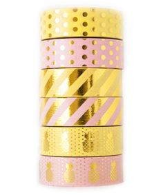 Another great find on #zulily! Pink & Yellow Pineapple Washi Tape - Set of Six #zulilyfinds