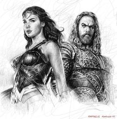"""sketch portrait of Wonder Woman and Aquaman, from the movie """"Justice League"""""""