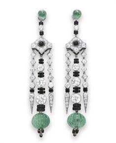 Art Deco Aros colgantes de esmeralda, Diamante y Onyx -, Cartier