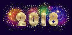 2018 number logo with firework gold glitter texture illumination light effect shiny sparkles firewor Stock Vector