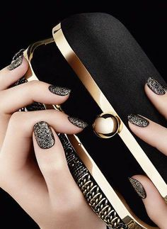 Black and Gold Shimmer.  Luxury Nails. O Spa Kelowna, En Vogue Gel Nails and Lac Sensation Manicures