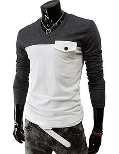 (DK19-CHARCOAL) Mens Casual Slim fit 2 Tone V-neck Tshirts. Like the two-tone; the pocket is weird.