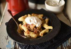Hagymás-baconös nudli Gnocchi, Kids Meals, Fondue, Quiche, Bacon, Beef, Cheese, Breakfast, Ethnic Recipes