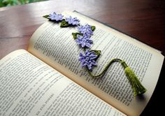 Crochet bookmark light purple floral bookmark book by Draiguna
