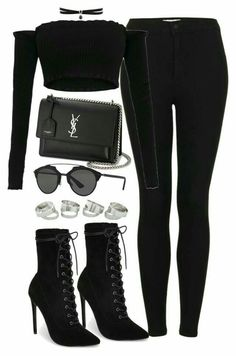A fashion look from September 2017 featuring white ruffle shirt, skinny fit jeans and short black boots. Browse and shop related looks. Bad Girl Outfits, Cute Swag Outfits, Komplette Outfits, Kpop Fashion Outfits, Girls Fashion Clothes, Teenager Outfits, Polyvore Outfits, Classy Outfits, Pretty Outfits